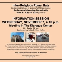 Iacocca Internship in Rome - Summer 2019 | Chaplain's Office