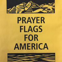 """Prayer Flags for America"" Printmaking Project on Pedestrian Walkway"