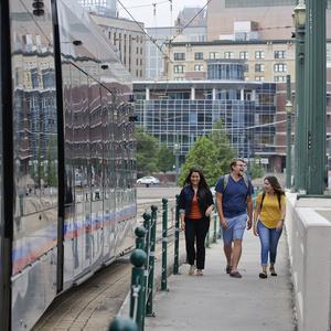 Students on Main Street Bridge