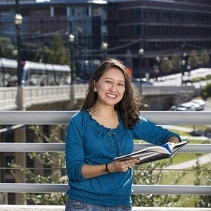 Student on Main Street Bridge