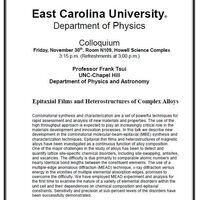 Physics Colloquium!- Professor Frank Tsui