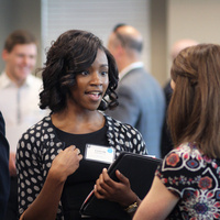 Students at career and internship networking event