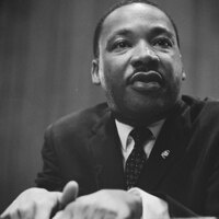 Martin Luther King Jr speaking at Lecturn