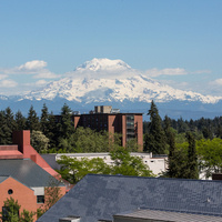 View of Mount Rainier from lower campus
