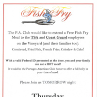Free Fish Fry for TSA & Coast Guard