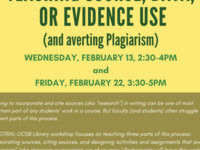 Teaching Source, Data, or Evidence Use (and averting plagiarism): A UCSB Library/CITRAL Workshop