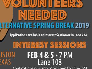 Alternative Spring Break Houson, TX- Interest Session