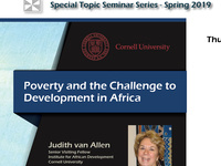 "Institute for African Development Spring Seminar Series: ""Poverty and Challenges of Growth in Africa"""