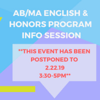 POSTPONED TO 2/22 | AB/MA English & Honors Program Info Session