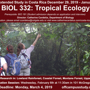 Deadline to Apply to Fall 2019 Costa Rica Extended Study