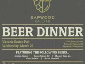 Sapwood Cellars Beer Dinner at Victoria Gastro Pub