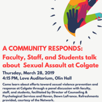 A Community Responds: Faculty, Staff, and Students talk about Sexual Assault at Colgate
