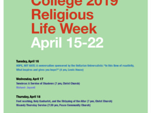 Flyer with details of Religious Life Week