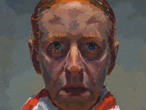 Flag, oil on panel, 12 x 15 inches, 2003; man donning red striped shirt