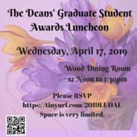 Graduate Deans' Awards Appreciation Luncheon, Weds., April 17, 2019 | Graduate Life