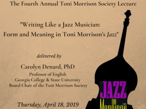 flyer announcing the toni morrison society lecture