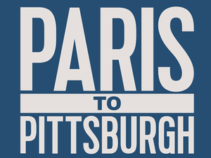 Paris to Pittsburgh logo, white letters on blue background