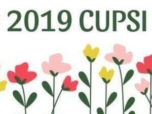 Poster for OSLAM 2019 CUPSI showcase with pink flower patterned background.