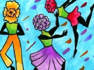 Illustrated dancers made of flowers tap dance and lift each other joyfully, wearing colorful clothing.