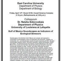 Joint Physics-Biology Colloquium!- Dr. Natalia Sidorovskaia