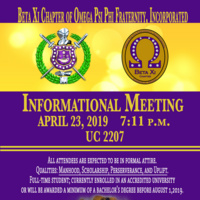 Omega Psi Phi Fraternity, Inc. Spring 2019 Informational Meeting