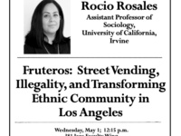 Rocio Rosales to give talk: Fruteros: Street Vending, Illegality, and Transforming Ethnic Communities in Los Angeles