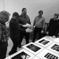 Curatorial team and photographers Scott Kissel, Jeff Sabo, Ron Stevens and Jon Yamashiro with Curator of Exhibitions Jason Shaiman.ro